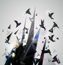 Naklejki Paper Escape, Origami abstract vector illustration.