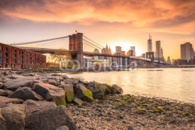 Naklejki Brooklyn Bridge at sunset