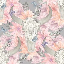 Fototapety Ethnic seamless pattern. Skull bull in flowers