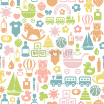 Obrazy i plakaty seamless pattern with colorful baby icons
