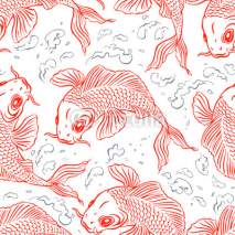 Fototapety Seamless red carps
