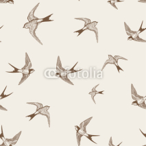 Fototapety vintage pattern with white little swallows