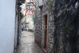 Fototapety paved street stone walls Europe