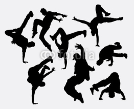 Naklejki People breakdance silhouettes