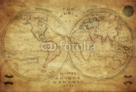 Naklejki vintage map of the world 1833..
