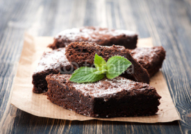 Fototapety Cake chocolate brownies on wooden background