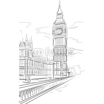Naklejki Vector drawing of Big Ben Tower, London, UK