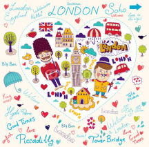Naklejki Vector card with London symbols and landmarks