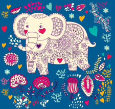 Fototapety Vector holiday illustration with elephant