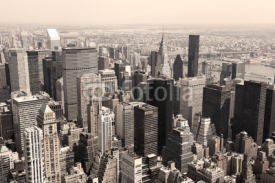 Naklejki Skyline of Manhattan, NYC - sepia image