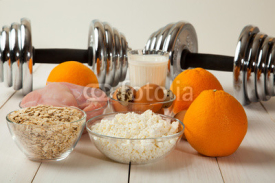 Dumbbells and healthy food