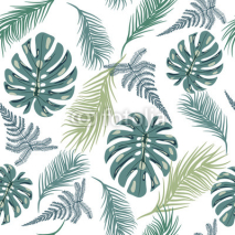 Naklejki Tropical trendy seamless pattern with exotic plant leaves