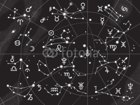 Obrazy i plakaty XII Constellations of Zodiac and Its Planets the Sovereigns. Astrological Celestial Chart.