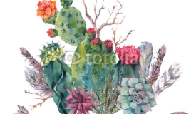 Watercolor cactus, succulent, flowers