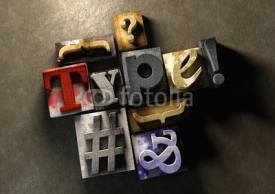 Naklejki Wooden printing blocks form word 'Type'. Graphic look at type an