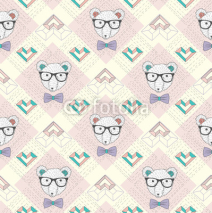 Obrazy i plakaty Seamless pattern with hipster polar bear and hearts. Cute backgr