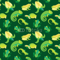 Fototapety Vector seamless pattern with frogs and reptiles