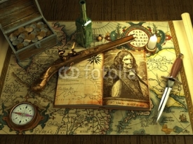 Fototapety Old money and weapons on the vintage map