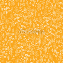 Naklejki Vecto golden flowers and plants seamless pattern background