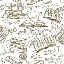 Obrazy i plakaty Seamless pattern of books and children's scribbles