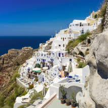 Naklejki white houses with blue trim on the island of Santorini, Greece