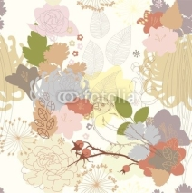 Fototapety seamless background with abstract botanical ornament