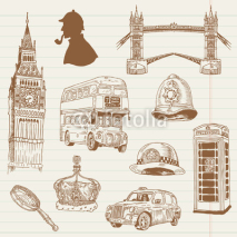 Fototapety Set of London doodles - for design and scrapbook - hand drawn in