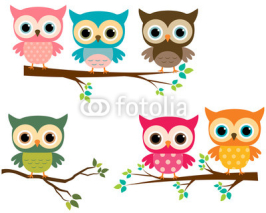 Obrazy i plakaty Vector Collection of Cute Cartoon Owls and Tree Branches