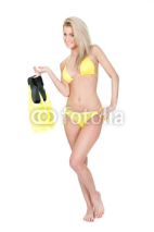 Naklejki Beautiful young woman in bikini with snorkel