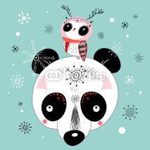 Obrazy i plakaty winter postcard of a panda and owl