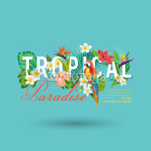 Fototapety Tropical Bird and Flowers Graphic Design - for t-shirt, fashion