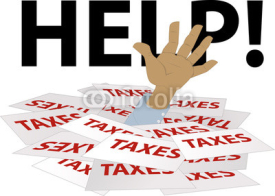 Fototapety Person's hand sticking out of a pile of tax forms, word help on the background, EPS 8 vector illustration