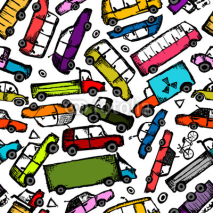 Obrazy i plakaty Toy cars collection, seamless pattern for your design