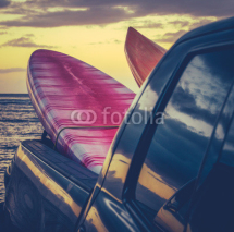 Obrazy i plakaty Retro Surf Boards In Truck