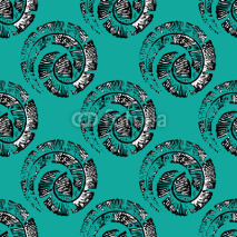 Obrazy i plakaty Seamless pattern with feathers in spiral in linear style