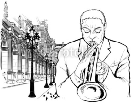 Naklejki Trumpet player in Paris