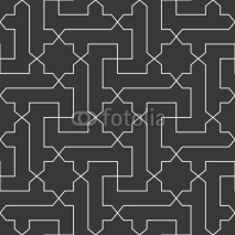 Fototapety Seamless black and white classical arabic diagonal cross and star pattern vector