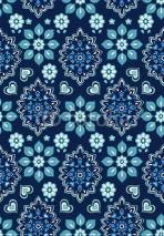 Fototapety navy floral bandana vector ~ seamless background