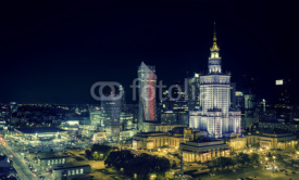 Naklejki Warsaw downtown at night