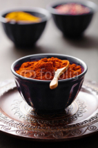 Naklejki spices in bowls: curry pink and black pepper paprika powder