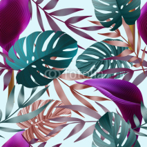 Fototapety Tropical flowers, jungle leaves, bird of paradise flower.