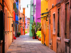 Obrazy i plakaty Colorful street in Burano, near Venice, Italy