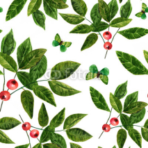 Fototapety Seamless background pattern with watercolor leaves , berries and butterflies