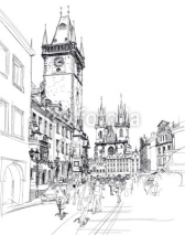 Naklejki Old Town Square, Prague, Czech Republic - a vector sketch