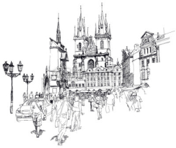 Obrazy i plakaty Old Town Square, Prague, Czech Republic - a vector sketch