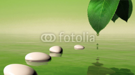 Fototapety Zen stones in the blue water and green leaf with water drop