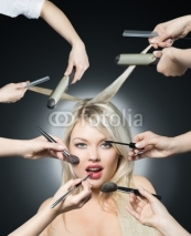Fototapety Portrait beautiful white hair girl with makeup brushes near attr