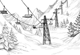 Naklejki Mountain ski lift chairs pencil drawing