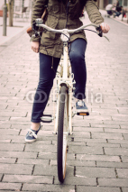 Fototapety Woman on retro bike