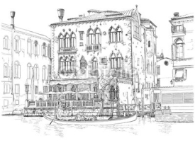 Naklejki Venice - Grand Canal. Ancient building & gondola. Vector drawing